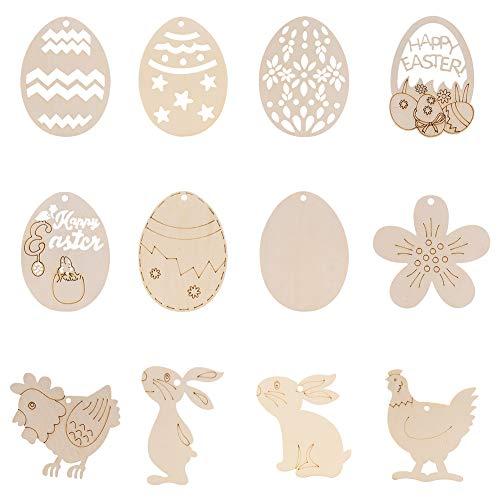 XYDZ 48 Pezzi Ornamenti in Legno appesi Pasqua,Decorazioni Pasqua ,Coniglio,Pulcino,Fiore,Uova di Pasqua,Legno Fette di Artigianato in Legno Pasquale per Bambini Articoli per Feste Pasquali