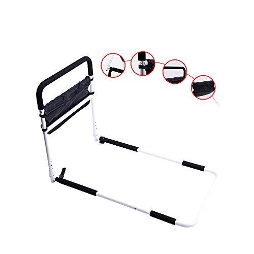 GHzzY Barandilla de Cama para Ancianos, discapacitados y Embarazadas - Barandillas de Cama de Seguridad con Bolsas de Almacenamiento - Protector Lateral de Cama - 5 pasamanos de Altura Ajustable