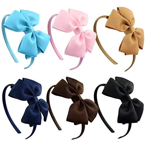 Lurrose 6 Pcs Noeud Papillon Bandeaux Bowknot Bandeaux Bowknot Coiffure Bowknot Cheveux Accessoires pour Filles Couleur Mélangée
