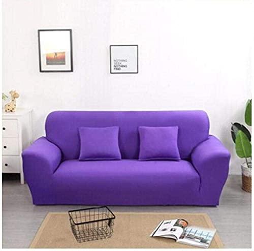 GMLT Modern Elastic Sofa Cover,Einfarbige Stretch-Sofabezug, Vier Jahreszeiten universelle rutschfeste Sofabezug, einfarbige Möbel staubdichte Sofakissenbezug-lila_190-230cm