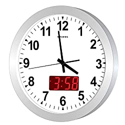 KWANWA 12 Metal Quartz LED Wall Clock Battery Operated with 1.34'' Digital Time or Temperature Display Non Ticking Silent Quiet Sweep Second Hand