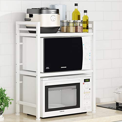 Pusdon Extendable Microwave Oven Rack Heavy Duty Adjustable MicrowaveToaster ShelfL157~236xW126xH307 Stand Kitchen Counter Top Organizer 3-Tier with 3 Hooks 110lbs Weight Capacity White