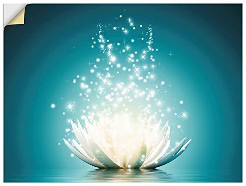 Artland Wandbild selbstklebend Vinylfolie 40x30 cm Wanddeko Wandtattoo Lotusblume Blüten Botanik Blumen Seerose Türkis Modern T9NM