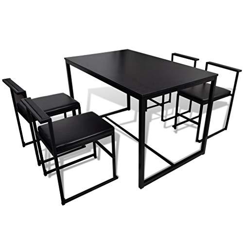 Vislone 5-teilige Essgruppe Tischgruppe Esszimmergarnitur inkl. 1 Esstisch + 4 Esszimmerstühle Sitzgruppe Schwarz