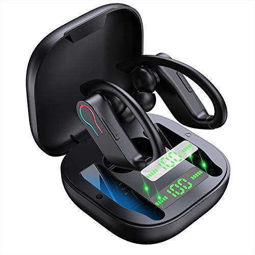 Auriculares Inalámblicos Sport, Auriculares Bluetooth5.1 in Ear con Mic Reducción del Ruido Estéreo 3D HD, Auriculares Deportivos de Nivel IP7, 40 Horas de Reproducción, Pantalla LCD, Viajes, Deporte