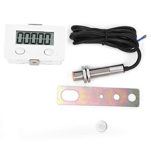 0-99999 Contador de inducción magnética con interruptor de inducción magnética de metal, pantalla digital LCD de 5 dígitos, sensor de metal BEM-5C + 12φ, sin desgaste mecánico