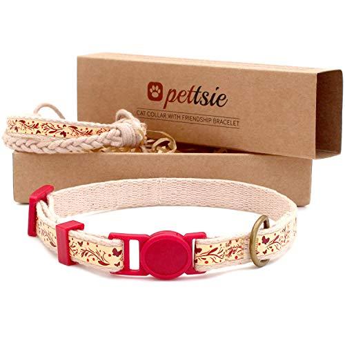 pettsie Collar de gato Breakaway & Matching Amistad, caja de regalo ecológica, anillo en D para...