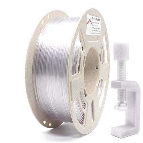 Reprapper Clear PETG Filament for 3D Printer 1.75 mm (± 0.03 mm) 2.2 lb (1 kg) Perfectly Coiled + Cleaning Needle + Printing Surface