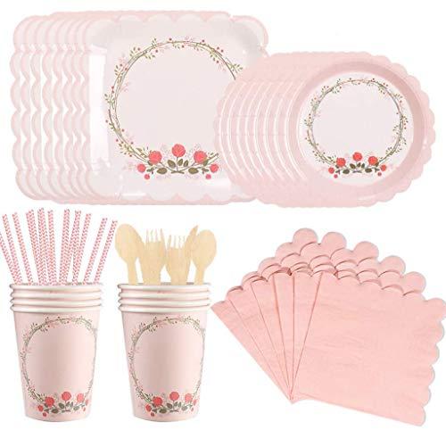 Amycute 90 piezas vajilla suministros para niñas fiestas de cumpleaños set de platos de papel rosa, vasos, servilletas, pajitas, cuchillos, tenedores, cucharas, para una fiesta infantil