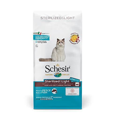 Schesir Trockenfutter für ausgewachsene Katzen Sterilisiert oder übergewichtig Linea Light Gusto Fisch, aus Kroketten – Größe Sack von 10 kg