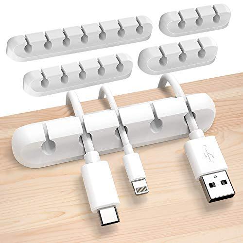 Sinwind Kabelhalter, 4 Stück Kabelclips Kabelhalter, Vielzwecke Kabelführung Kabel Organizer Set, für Haus Auto Büro Kabelmanagement (Weiß-2)