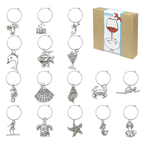 Beach Themed Wine Glass Charms Markers,Wine Tasting Party Supplies
