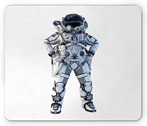 Astronauten-Mauspad, reales Bild des Raumfahrers in einem Anzug, der auf einem einfachen Hintergrund steht, rechteckiges rutschfestes Gummi-Mauspad, Standardgröße, Weiß Lila Blau Dunkelgrau
