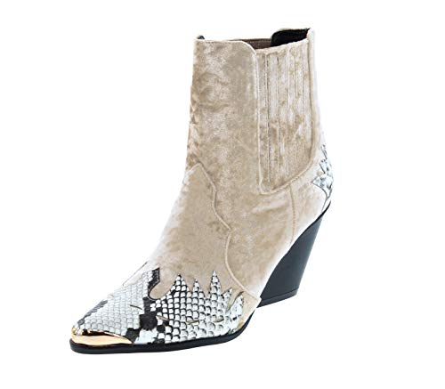 Cape Robbin Women Mixed Media Pointy Toe Flame Pattern Cowboy Bootie HJ89 - Snake Mix Media (Size: 7.5)