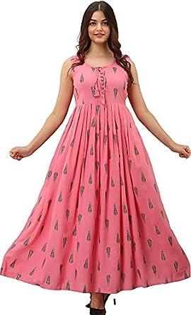 Women Pink Kurti Long Dress Printed Gown Anarkali Kurti Sleevless Kurti for Women & Girls (Pink)