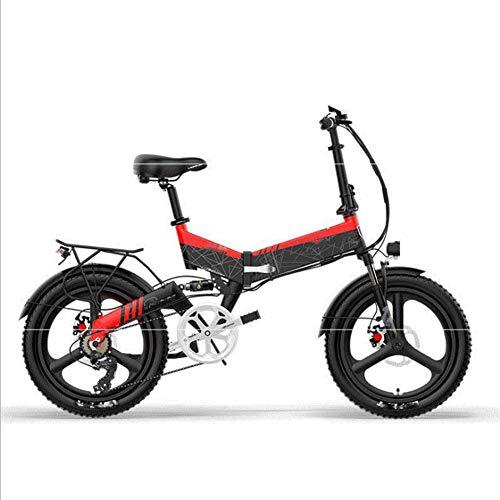 HWOEK Bicicleta Eléctrica Plegable, 20' Adulto Ciudad Bicicleta eléctrica Montaña Batería extraíble con Sistema antirrobo Doble suspensión Delantera y Trasera Unisex,Rojo,B 12.8AH