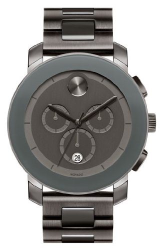 Movado Swiss Chronograph Bold Gray Ion-Plated Stainless Steel Bracelet Watch 44mm 3600142
