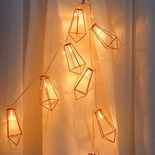 BUNUMO Cadena de Luces, 2M 20 Luces LED de Hadas con Pantallas de lámparas en Forma de Gemas de Oro Rosa Luces Colgantes Colgantes para la decoración de la habitación de