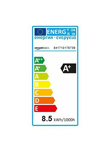 Amazonbasics Bombilla LED Esférica E27 de tornillo Edison, 9W (Equivalente a 60W), [Classe energética A++], Blanco Cálido - 6 unidades