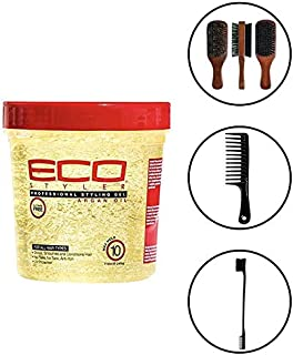 Eco Style Styling Gel, Argan Oil, 24 Ounce (Including Double Sided Edge Control Hair Brush, Detangling Wide Tooth Comb Set & 100% Boar 2-Sided Club Brush) Eco Styler Hair Gel Kit