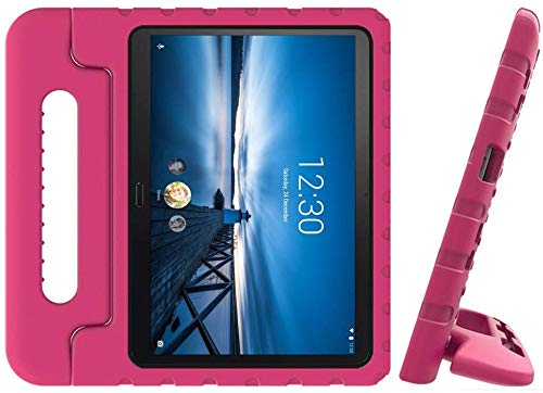 Golden Sheeps Kid Friendly Case Compatible for LG G Pad 5 10.1 inch 2019 T600 T605 Shockproof Ultra Light Weight Convertible Handle Stand Cover (Rose)
