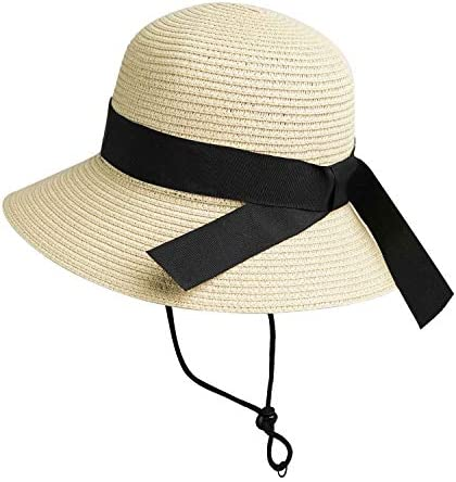 Girls Wide Brim Straw Sun Hat for Summer Beach with Bow 7 to 14 Years Beige 7 14Years 56CM product image