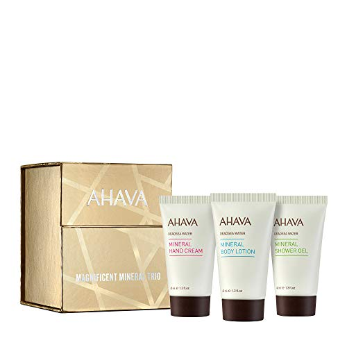 AHAVA Magnificent Mineral Trio Value Set | Dead Sea Mineral Hand Cream, Mineral Body Lotion & Mineral Shower Gel, Travel Size 40 ML / 1.3 Oz Each, 3 ct.
