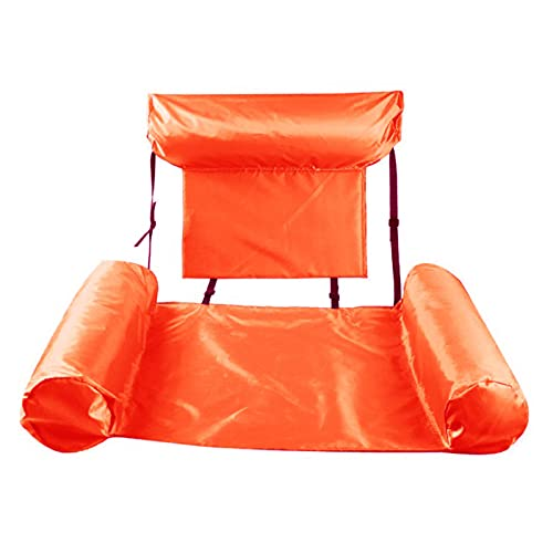 Xinchangda Hamaca de agua Hamaca inflable Tumbona inflable Cama flotante Hamaca plegable doble propósito respaldo flotante fila (naranja (respaldo fila flotante)