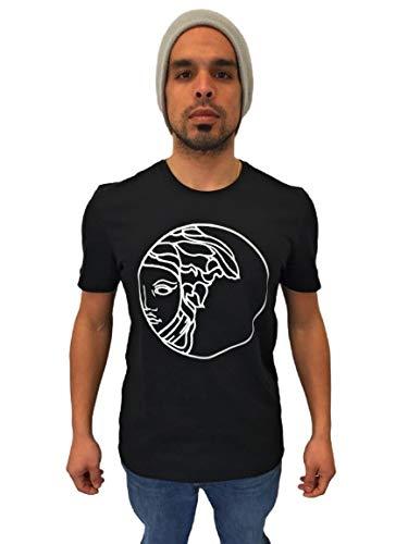 T-Shirt Uomo Girocollo in Cotone - Maniche Corte - Disponibile in Nero o Bianco con Decorazione (Nero, XL)