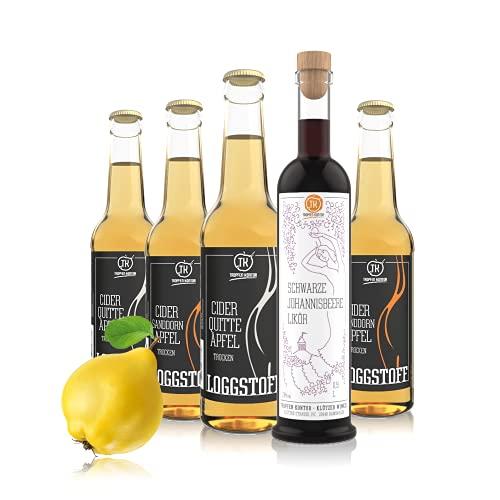 TROPFEN KONTOR Cider + Likör Probierset - Loggstoff Bio Cidre Apfel-Wein Flaschengärung 5% vol. Apfelschaumwein (3 x 0,33 l) + Schwarze Johannisbeere Likör 23% vol. Cassis Schnaps (1 x 0,5 l)