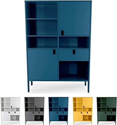 tenzo 8563-023 UNO Designer Buffet Haut 2 Portes, 1 tiroir, Bleu pétrole, MDF Particules ép. 19 et 16 mm Panneau arrière laqué. Poignées en matière Plastique, 176 x 109 x 40 cm (HxLxP)