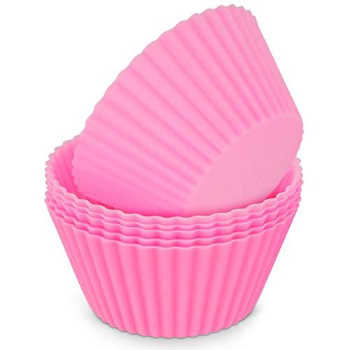 MoNiRo 6er Pack Silikon Muffin Förmchen Pink - Wiederverwendbare Cupcake Backform aus Silikon - Muffin Form - Cupcake Form - Silikonbackform - Cupcake Förmchen - Muffinform Silikon