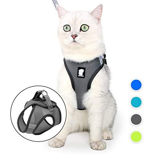 EVEL - Set di pettorina e guinzaglio per gatti, a prova di fuga, riflettente, regolabile, in morbida rete, imbottita, per cuccioli, gattini, passeggiate all'aperto