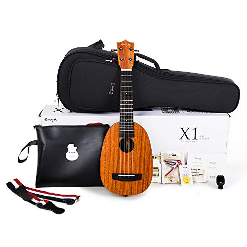 Enya Pineapple Soprano Ukulele 21 Inch Beginner Kit, HPL and Mahogany Neck – With Bundle Includes Online Lessons, Case, Strap, Strings, Capo, Sand Shaker, Picks, Polish Cloth (EUP-X1)