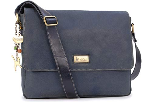 Catwalk Collection Handbags - Vera Pelle - Grande Borsa a Tracolla/Borse a Mano/Messenger da Donna - Per PC Laptop Portatile/Tablet - Sabine L - BLU