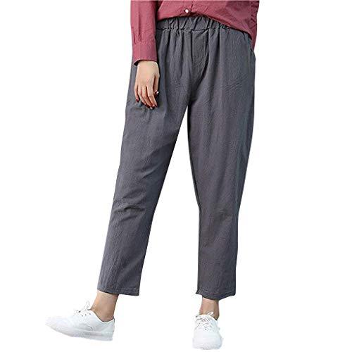 Damen Leinenhose einfarbig lässig Füße gerade Hosen lässig neun Hosen Hosen Mode hohe Taille elastischen Gürtel Hosentasche Sonojie