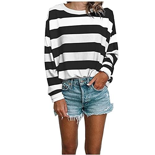 Camiseta de manga larga para mujer, moderna, suelta, clásica, arco iris, escote de manga larga, a rayas, para otoño, tiempo libre, Negro , XXL