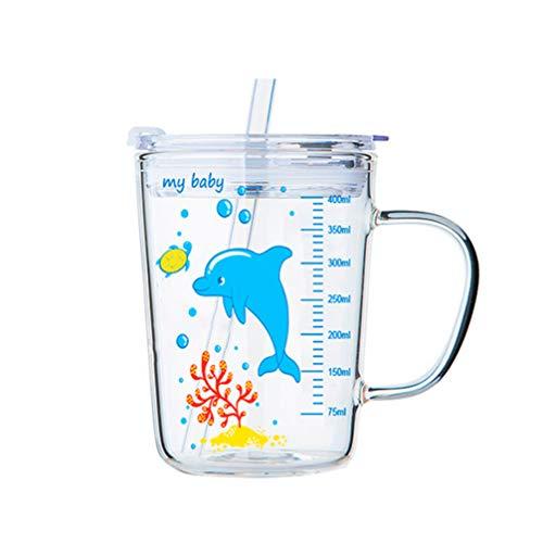 UPKOCH Vaso de vidrio de 1 pieza con pajita y tapa microondas hermosa taza de medir taza de leche para niños de gran capacidad con escala para bebés y niños pequeños