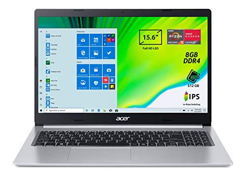 Acer Aspire 5 A515-44-R0KN Pc Portatile, Notebook con Processore AMD Ryzen 5 4500U, Ram 8 GB DDR4, 512 GB PCIe NVMe SSD, Display 15.6  FHD IPS LED LCD, AMD Radeon, Windows 10 Home, Silver
