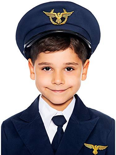 Maskworld Authentische Piloten-Mütze für Kinder - perfekt für alle Überflieger die noch EIN Accessoire zu Karneval Fasching oder Halloween suchen - Verkleidung Uniform - Größe 56
