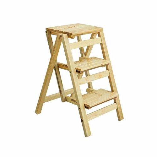 KXBYMX Escalier Tabouret d'échelle Pliante à Trois Niveaux à Double Usage, échelle en Bois pour Petit ménage, échelle à crémaillère à usages Multiples, échelle de Contraction en Bois Massif.