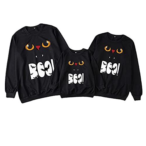 Halloween familiar Camiseta Ropa para Hombre Mujer Niños Niña Chica Bebe Ropa para padres hijos camisetas de servicio domicilio Luminoso Impreso Top Cuello redondo Tops de manga larga Blusa