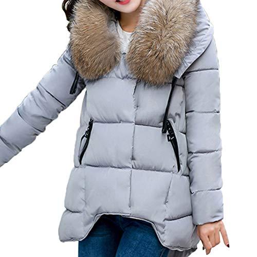 Qmber Daunenjacke Damen Kunstpelz Mantel Ultraleicht Steppjacke Parka Winter Jacke Kapuze Outwear Daunenmantel Fellkapuze Coat Hooded Warme Steppmantel, Dicker Pelzkragen Baumwolle (GY,Medium)