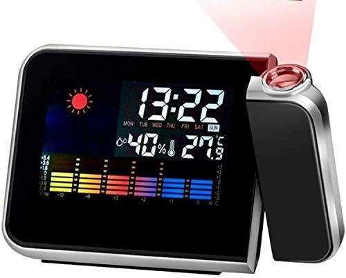 LED Digital Projection Wecker Zeitschaltuhr Snooze Wetterthermometer mit 3,7 LCD-Display für Schlafzimmer Deckenwand Home Kitchen Desk