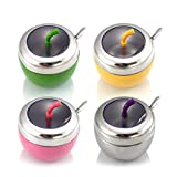 ZZALLL Kitchen Stainless Steel Seasoning Canister Spice Jar Pot Sugar Salt Bowl with Lid Spoon Set