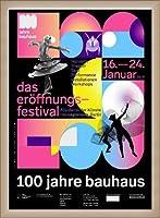 ポスター バウハウス 100 Jahre Bauhaus Festival 2019 Black 額装品 ウッドベーシックフレーム(オフホワイト)