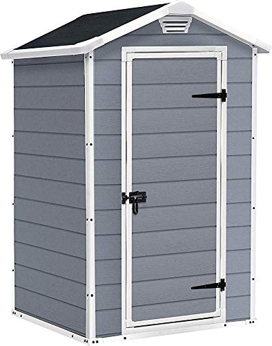 Storage shed, Outdoor Plastic Garden Storage shed, Easy to Assemble. Weatherproof and UV Resistant. Low Maintenance,4 x 3 Feet