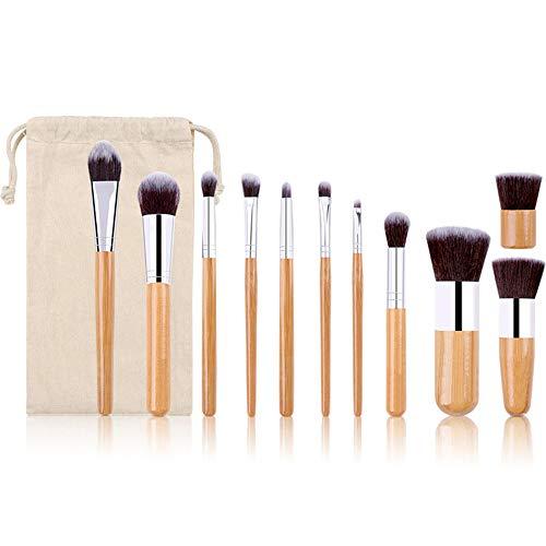 11 Pcs Pinceaux de Maquillage Professionnel Bambou Poignée Cosmétiques Outils Ensemble Maquillage Pinceaux pour Poudre Fard à Paupières Ombre à Paupières