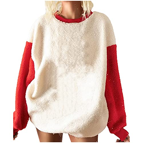 Sherpa Fleece Pullover Womens Christmas Plaid Santa Graphic Tees Crewneck Fuzzy Sweatshirts Leopard Print Shirts Beige
