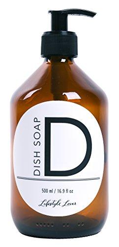 Lifestyle Lover Seifenspender 500ml aus Braunglas, Bernsteinfarben für Seife Spüli Shampoo Lotionen Braun Glas Dish Soap (D)
